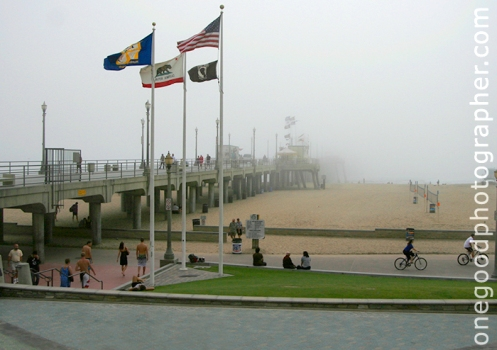 HB Pier on a Foggy Afternoon